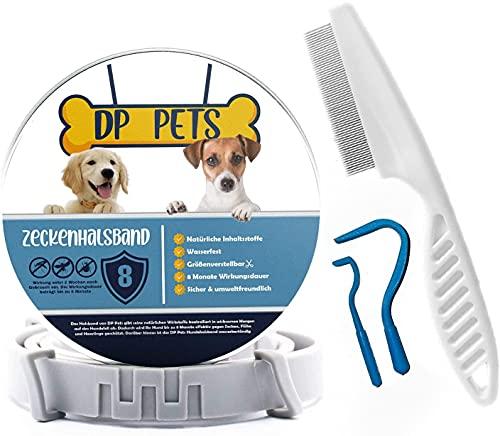 DP-Pets® Zeckenhalsband für Hunde und Katzen inklusive Floh-/Zeckenkamm   natürliche Prävention gegen Zecken und Flöhe mit organischen Inhaltsstoffen  Verstellbar   Natürliche Zeckenabwehr