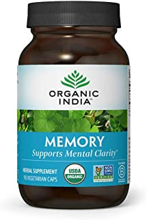 Organic India Memory Herbal Supplement - Supports Mental Clarity & Healthy Nervous System, Immune Support, Vegan, Gluten-F...