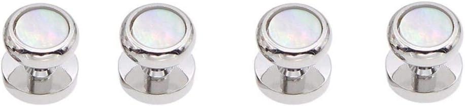 Vesna Pearl Shell + Brass Cufflinks for Mens Tuxedo Shirt Stud Cuff Links Buttons Brand Top Quality Man Wedding Jewelry Z692 (4 pcs)