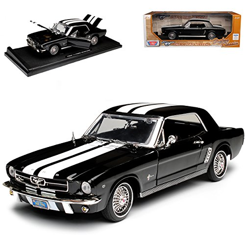 Motormax Ford Mustang I 1. Generation 1/2 Coupe Schwarz mit Weißen Shelby Streifen 1. Modelljahr 1964 Generation 1964-1966 1/18 Modell Auto mit individiuellem Wunschkennzeichen