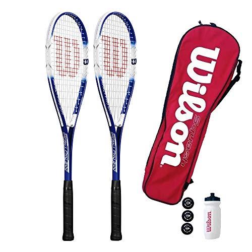 Wilson Impact Pro 500 - Racchetta da squash e 3 palline da squash (singole, doppie e set disponibili opzioni) (doppio starter set)