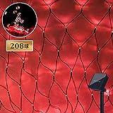 LED ソーラー イルミネーション ネットライト 208球 点灯8パターン 太陽発電 防雨 屋外 クリスマス 自動ON/OFF (レッド)