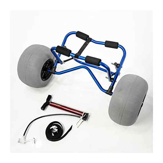 """Challenger outdoors kayak cart carrier dolly with large balloon tires heavy duty blue frame, pump and strap 2 detachable large low pressure 12"""" balloon tires what is included: manual heavy duty air pump & 12-ft cam buckle tie down strap carry your kayak, canoe and more, from your vehicle across the sand, loose gravel and mud"""