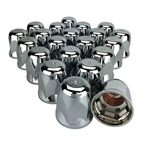 Grand General 10245SP Chrome Plastic 33mm Flat Top Cylinder Push-On Nut Cover for Trucks Trailers and More
