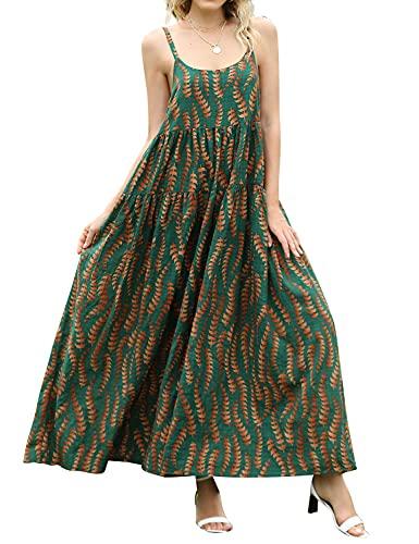 Yesno E75 vestido largo holgado de verano con estampado floral, cintura imperio y espagueti, para mujer - - Large
