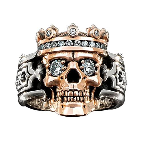 Europäische und amerikanische Art-Krone-Schädel-Temperament-männlicher Ring-Schmuck für Ehemann-Vater-Legierungs-Material leichte Beschaffenheit - 7#