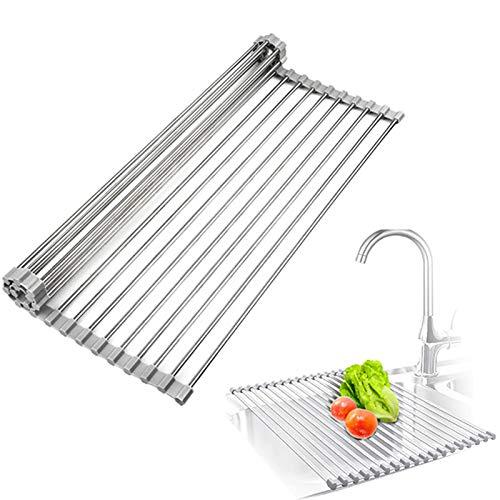 Estante enrollable para secar platos sobre el fregadero plegable multiusos de acero...