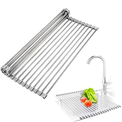 """Roll Up Dish Drying Rack Over The Sink Foldable Multipurpose Kitchen Tools Silicone Coated Stainless Steel 17.7"""" x 11.8"""" Adjustable Dish Drainer Mat for Drying Draining Trivet"""