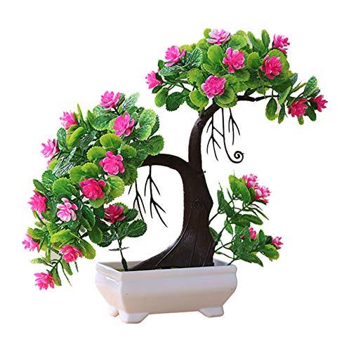 Artily Künstliche Pflanze im Topf, Kunststoff, Kunstpflanzen, Farbe Blumen, Bonsai, für drinnen und draußen, Haus, Garten, Dekoration, Geschenk, Plastik, Rosa, 27 * 27cm