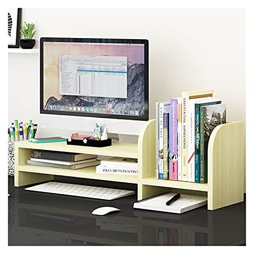 AWYST Buch Halter Monitor Stand Riser 2 Tier-Schreibtisch Organizer Countertop Bücherregale Bücherregal für Bürobedarf Wohnkultur Buchstützen (Color : Beige)