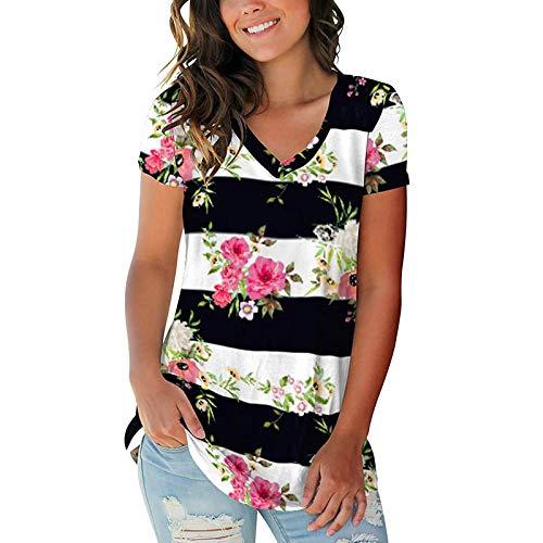 Betory Blusas básicas de manga corta con cuello en V para mujer, para verano, casual, elegante, sueltas