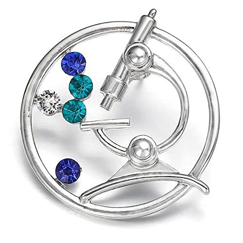 Broche de cristal para microscopio punk joyería regalo biología química estudiante graduación médico oro pines mujeres regalo