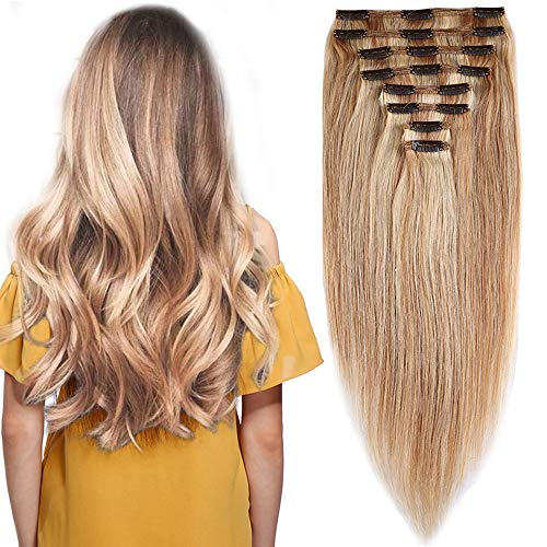 Extension Cheveux Naturel a Clip Maxi Epaisseur Extensions Cheveux Clips Naturel - 100% Remy Hair (#18+613 SABLE BLOND MECHE BLOND CLAIR, 25CM 110G)