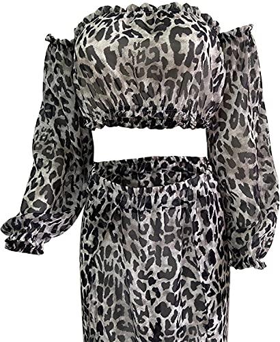 chuangminghangqi 2 piezas vestido de playa bikini cover up estampado leopardo cubretraje mujer Crop Top de manga larga + falda larga elegante gris L