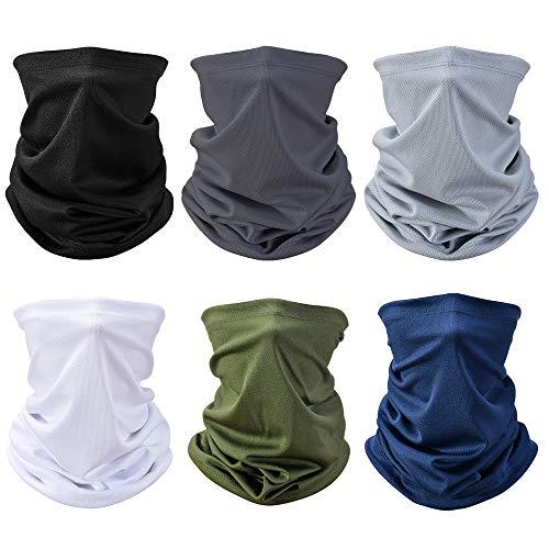 Sooair Multifunktionstuch Halstuch, 6 Stücks Schlauchtuch Nahtlose Bandanas Elastiche Schlauchschal Sommer Gesichtsmaske Kopfbedeckung für Yoga Laufen Radfahren Motorradfahren UV Widerstand