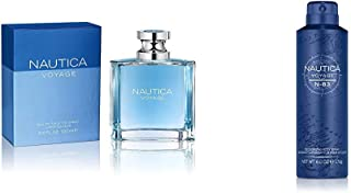 Nautica Voyage By Nautica For Men. Eau De Toilette Spray 3.4 Fl Oz and Nautica Voyage N-83 Body Spray, 6 Fluid Ounce