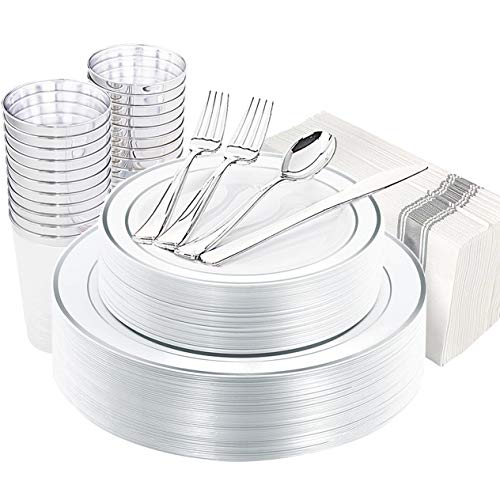200 Disposable Silver Plastic Plates, Silver Plastic Silverware, Silver Plastic Cups, Silver Linen Napkins, Disposable Party Flatware, Plastic Dinnerware Set Service for 25 Guest, Supernal