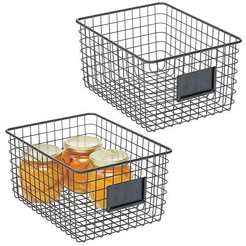 mDesign 2er-Set Allzweckkorb aus Metall – Aufbewahrungskorb für Küche, Vorratskammer etc. – kompakter und universeller Drahtkorb – schwarz