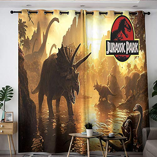 Elliot Dorothy Jurassic Park Dinosaurs Movie Poster Thermal Insulated Darkening Curtains Curtains for Living Room Waterproof Window Curtain for Kids Room,Baby Room W42 x L63