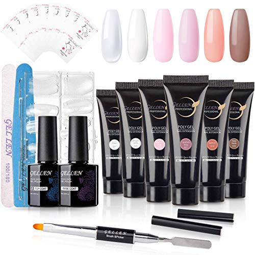 Gellen Poly Nail Gel Kit Nail Builder Enhancement Extension Set - With 6 Colors Classic Pink Nudes Manicure Tools Gel Nail Arcrylic kit Trial Technician Starter All-in-One