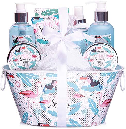 BRUBAKER Cosmetics - Coffret de bain & douche - Noix de coco/Flamant rose - 11 Pièces - Bassine décorative - Idée cadeau
