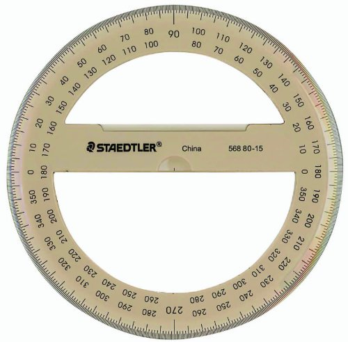 """Staedtler Protractor 6"""" 360 Degrees, 56880-15BK,Clear Photo #2"""