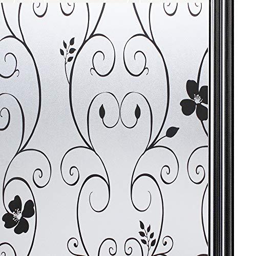 Qualsen Statische Fensterfolie Blickdicht Sichtschutzfolie selbsthaftend Milchglasfolie Sichtschutz Folie Blume Dekofolie Anti-UV für Bad Küche Schlafzimmer Büro, 44.3 x 200 cm
