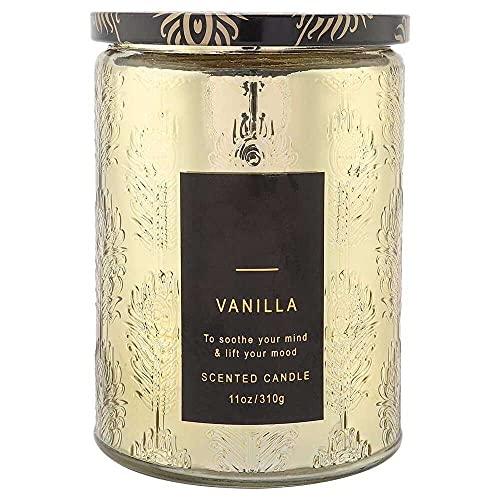 YuKeShop Cera perfumada delicada del whisky de la vainilla de las velas con la botella de cristal clara para la relajación del estrés