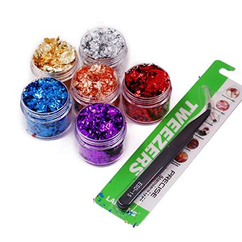 WT-DDJJK Fashion Necklace, 6 Color Metallic Foil Kit Resin Flakes Gold Leaf Gilding Epoxy Resin Glitter Kit