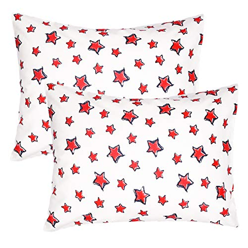 ZPECC Toddler Travel Pillowcases 2 Pack, Hypoallergenic 14x19 Pillow Cover Fits Pillows Sized 13x18 or 14x19, 100% Soft Cotton Envelope Closure Kids Pillowcase for Sleeping (Red Star)