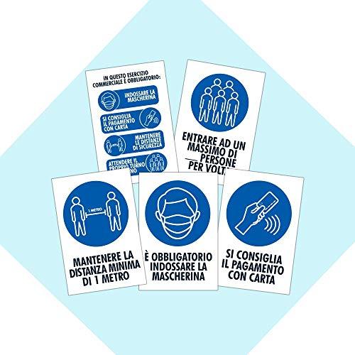Pack 5 cartelli adesivi Covid 19 AGGIORNATO - Regole di sicurezza - Dimensione 13,5x20 cm - Kamiustore