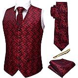 Barry.Wang Paisley Vest for Men Set Necktie Handkerchief Cufflink Waistcoat Dress Suit Wedding Black Red