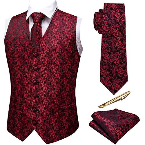 Barry.Wang Juego de 5 chalecos para hombre con complementos y diseño de cachemira Rojo negro/rojo XL