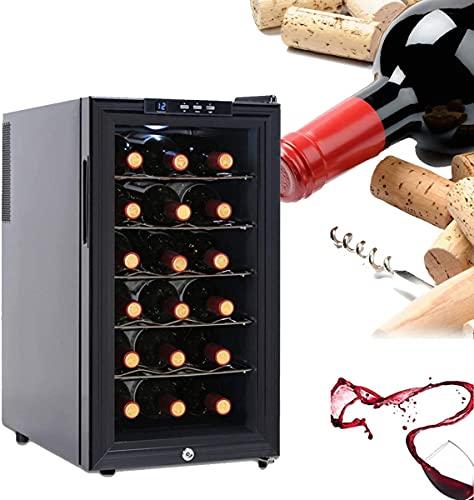 NFRMJMR Frigorífico refrigerador de vino, refrigerador de rack de vino con control digital de temperatura, puerta de vidrio templado, bodegas de vino independiente para rojo, blanco, champagne Hold 18