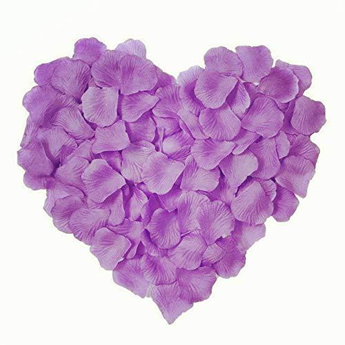 MELUOGE 1000Pcs Silk Sturdy Flower Rose Petals Wedding Party Pasty Tabel Decorations, Definately Lighter But Bright (Lavender)