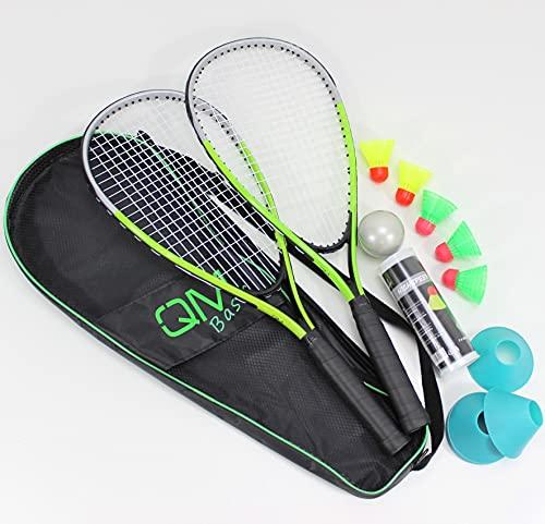 QMBasic Speed Badminton Set + 5 Speed Balls   Rapid Turbo Federball Schläger Highspeed Erwachsene   mit Spielfeld Begrenzung Hütchen