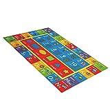 Kinderteppich mit ABC, Zahlen und Formen, Lernteppich für Schlafzimmer und Spielzimmer, sicherer und lustiger Spielteppich für Kinder -