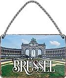 Cartel decorativo para fiesta de cumpleaños con texto 'Bruselas', 18 x 12 cm, regalo divertido, vintage, cumpleaños, decoración, sorpresa, paisajes, ciudades, países, vacaciones, lago
