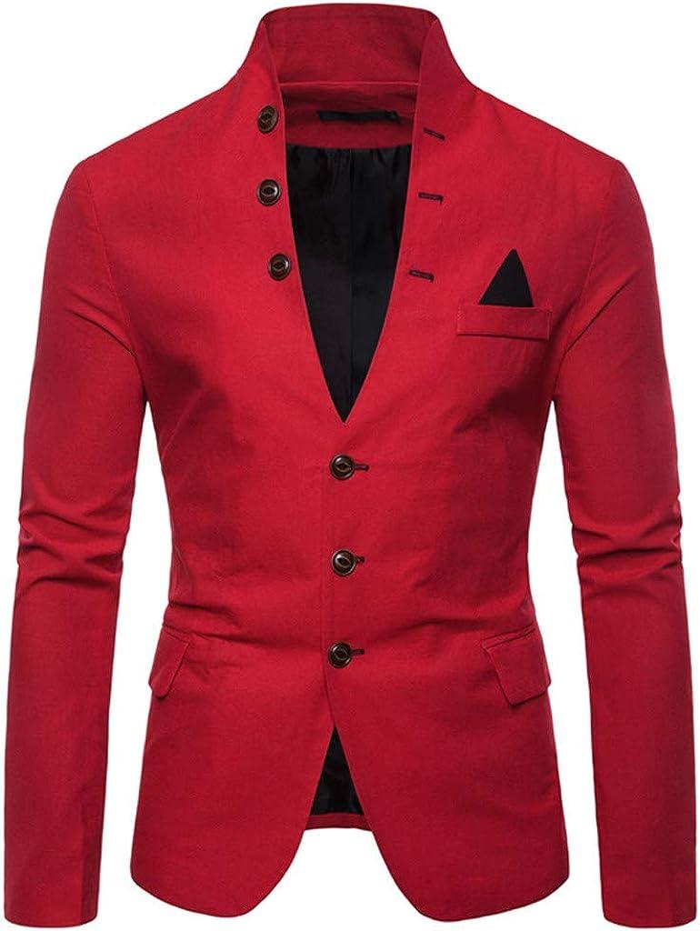 Men's Mandarin Collar Buttons Blazer Business Suit Casual Slim Fit Sport Coat Suit Jacket Coats Business Lapel Suit