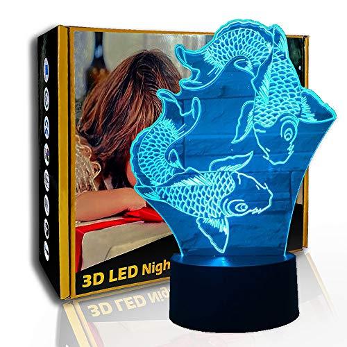 KangYD Veilleuse 3D deux poissons cyprinoïdes, lampe créative LED, cadeau enfant, E - Base de Réveil (7 couleurs), Cadeau de décoration, Cadeau d'anniversaire, Cadeau d'Halloween