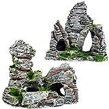 Acuario Decoración Cueva Acuario,QSXX 2 Piezas Cueva De Decoración De Acuario Elegante y Exquisito Decoración De Cueva De Roca De Acuario Para Decoración De Acuarios 2 Estilos
