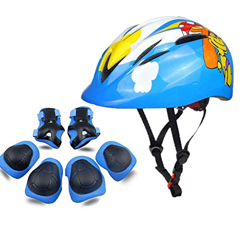 Atphfety Kids Helmet Set for 3-8 Years,Toddler Helmet Knee Elbow Pads Wrist Guards Adjustable Bike Skating Skateboard Cycling Scooter Rollerblading Helmet for Boys Girls (Blue Mushroom)