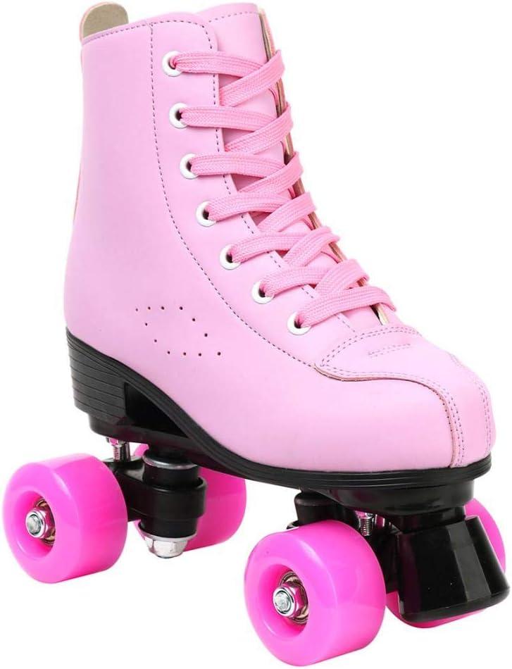 DUBUK Double-Row Roller Skates for Unisex Roller Skates PU Leather High-top Roller Skates Four-Wheel Roller Skates Shiny Roller Skates for Indoor Outdoor