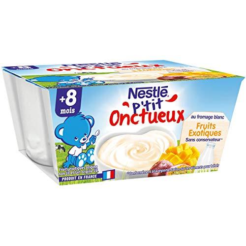 Nestlé Bébé P'tit Onctueux au Fromage Blanc Fruit Exotiques - Laitage dès 8 mois - 4 x 100g - Pack de 6 ( 24 Laitages )