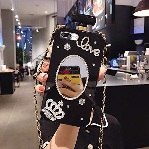 AAA&LIU Crystal Diamond Mirror Chain Handbag Perfume Bottle Lanyard Case para iPhone12 11 Pro XS MAX XR 6 7 8Plus Funda para teléfono, b, para iPhone 11 Pro