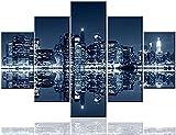 IILSZMT Cuadros de decoración de Pared para Pinturas de Pared de Manhattan Arte del Paisaje Urbano de Nueva York 5 Piezas/Ilustraciones de Lienzo múltiples Paneles Decoraciones para hogar Carteles