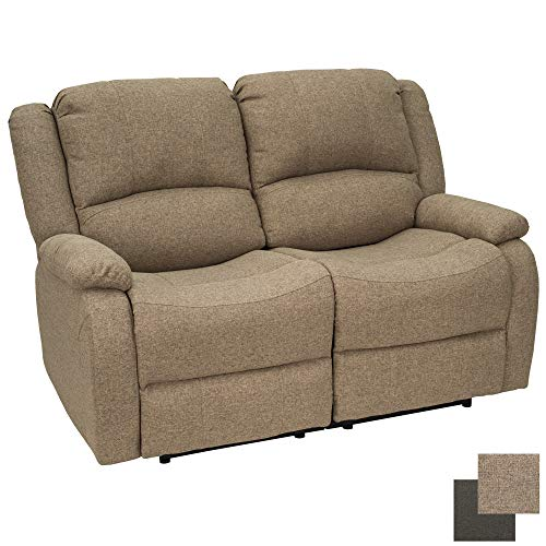 RecPro Charles Collection | 58' Double Recliner RV Sofa | RV Zero Wall Loveseat | Wall Hugger Recliner | RV Theater Seating | RV Furniture | RV Living Room (Slideout) Furniture | Cloth (Oatmeal)