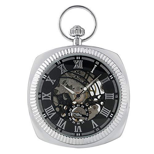Reloj de bolsillo mecánico de cuerda manual plateado, esfera de visualización de números romanos, reloj de bolsillo colgante retro, regalos para hombre silver black dial