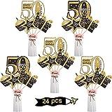 Blulu Geburtstag Party Dekoration Set Goldene Geburtstagsparty Herzstück Sticks Glitter Tischdekoration für. Geburtstagsparty Lieferungen, 24 Packungen (50 Jahre Geburtstag)