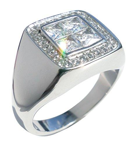 AH! Jewllery Men's Stainless Steel 4.4MM Lab Diamond Ring. Stamped 316. 11GR Total Weight